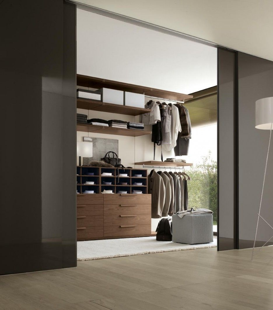 Spacious Walk In Wardrobe Designs With Glass Material Stunning