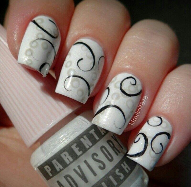 White, grey, black nails. SWIRL!!!!   Nails   Pinterest   Black ...