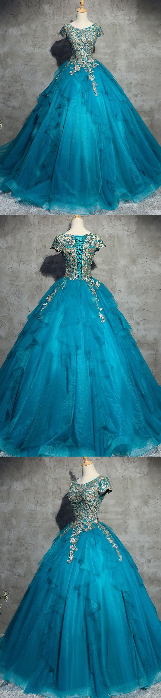 Ball gown prom dress appliques floorlength short sleeve prom dress