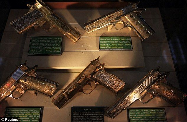 The men with the golden guns  Mexican museum displays  narco bling ... 9277387c1d