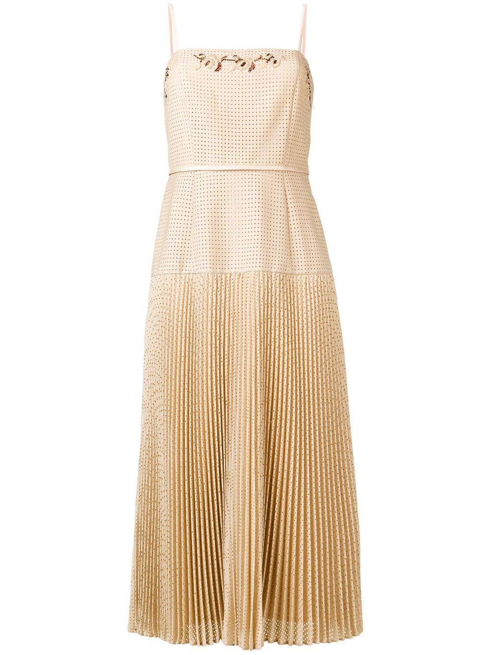 Fendi Perforated Pleated Dress Farfetch Pleated Dress Fendi Dress Gold Dress Casual [ 1334 x 1000 Pixel ]
