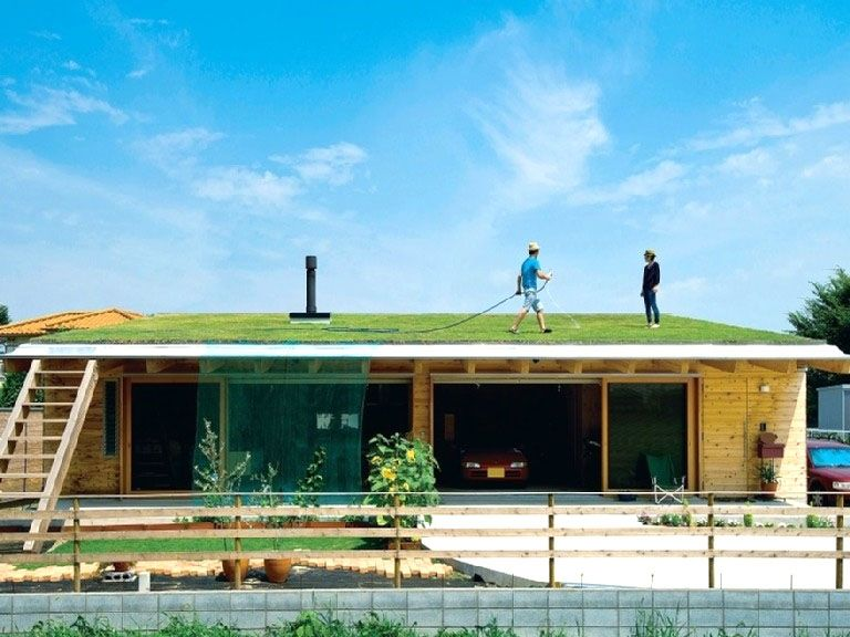 屋根が第二の庭になる 屋上緑化 屋上緑化 日本のモダンな家 建築