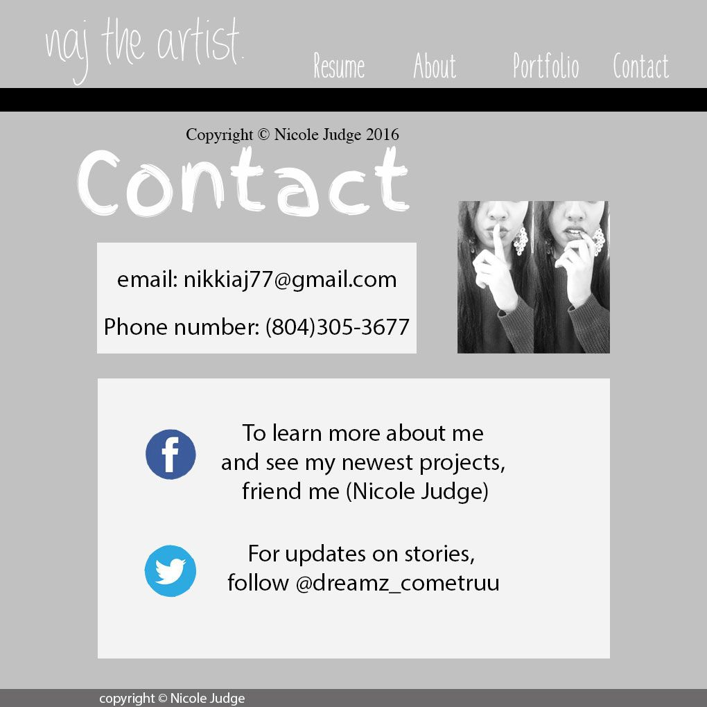 This Is The Contact Page To My Portfolio Website