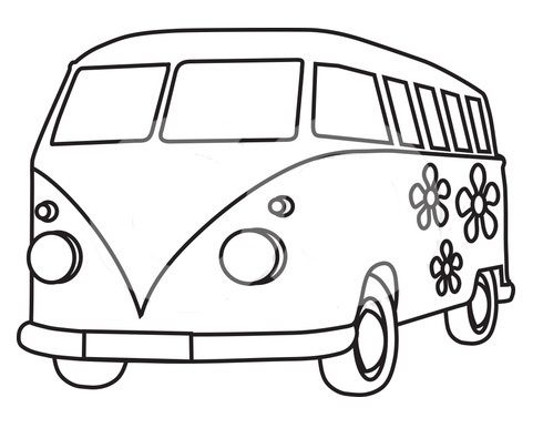 Kombi Template For Embroidery With Images Van Drawing Hippie