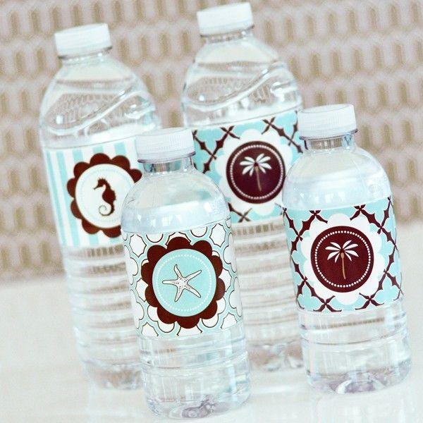 Love These Beach Theme Water Bottle Labels Novias Pinterest