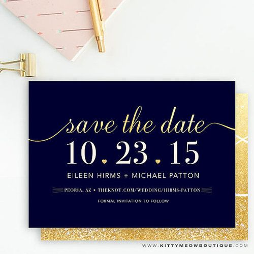 navy champagne elegant save the date cards kitty meow boutique