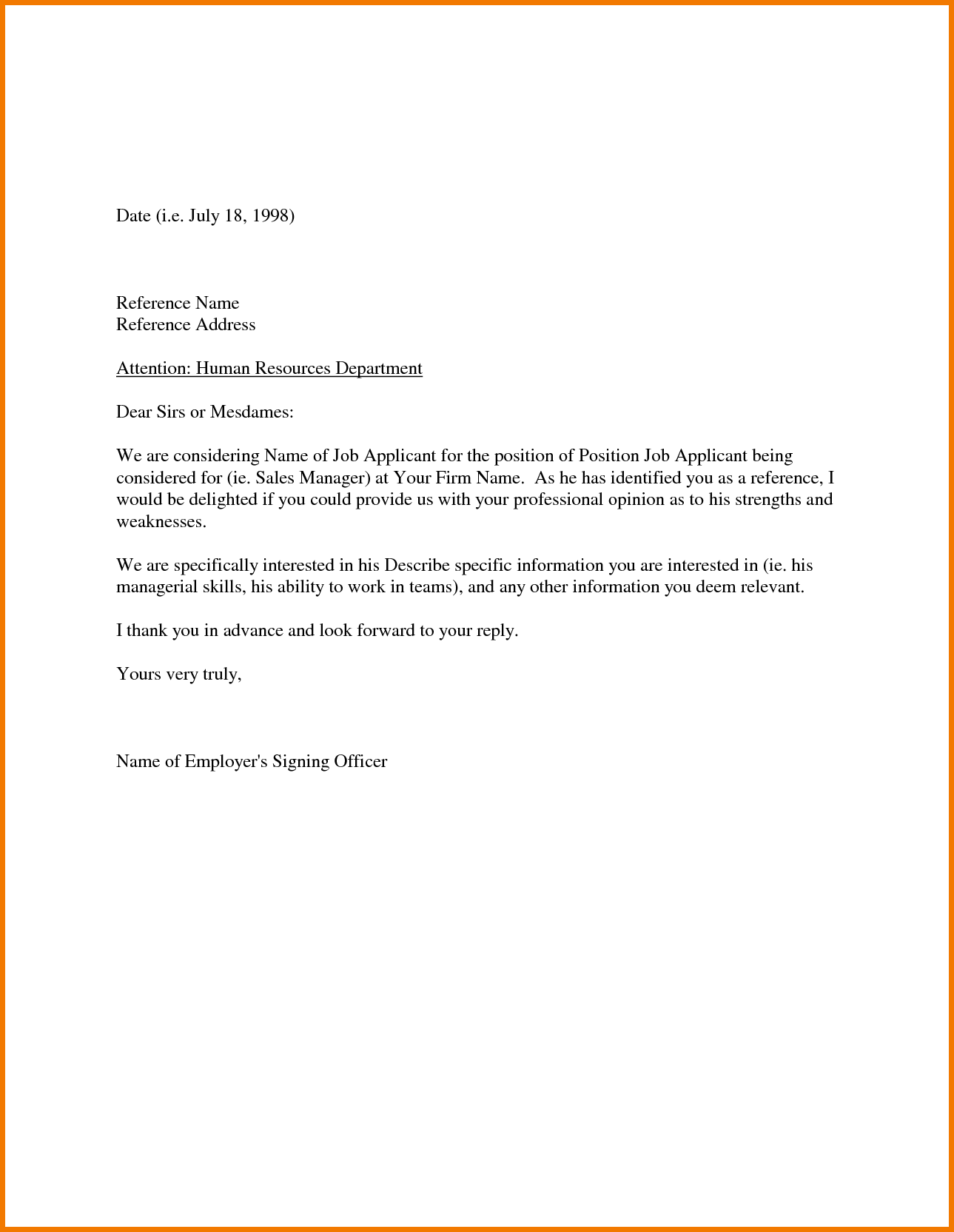 Sample Recommendation Letter From Employer Appeal Letters Reference