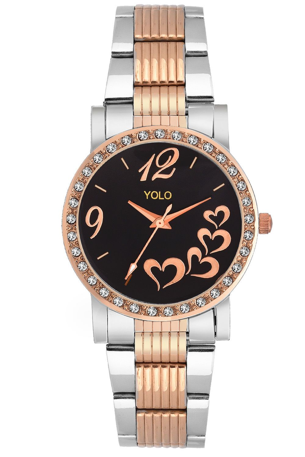 YOLO Women's Black Dial Analog Wrist Watch with Rosegold Metal Strap Is A Unique And Innovative Product In The Wrist Watches Market. This Amazing, Stylish Fashion Watch Has Arrived To Complement Your Look And Attitude.