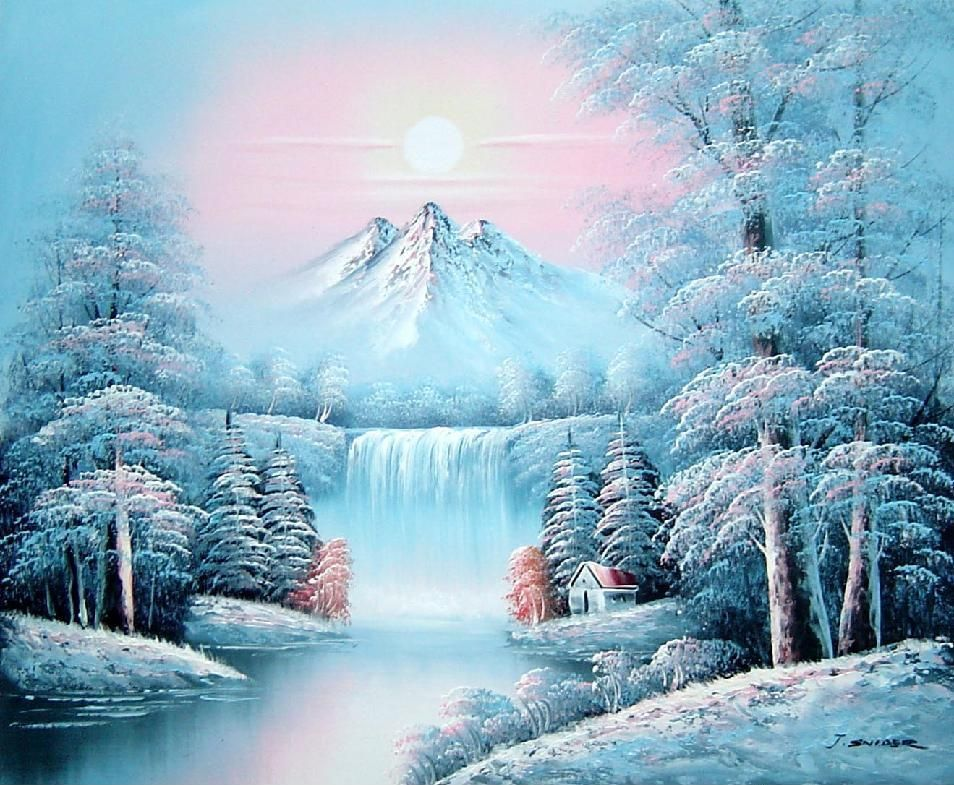 Waterfall, And Snow-Covered Trees,Mountain Landscape