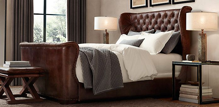 Great Living A Beautiful Life ~ Churchill Leather Wing Bed | Restoration Hardware