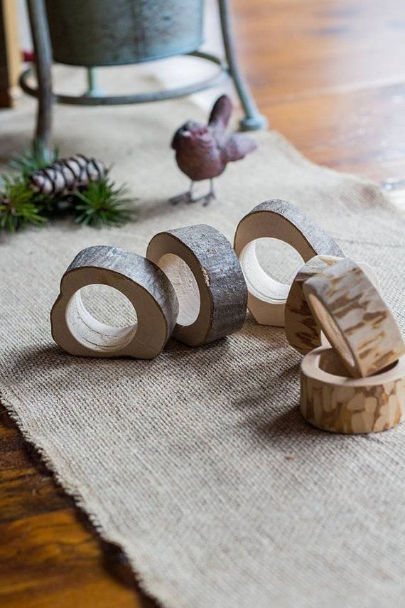 LOVE these!!  Would be great for a wedding or bridal shower!  Set of 6 Handcrafted Wood Napkin Rings by CreatedandRenewed