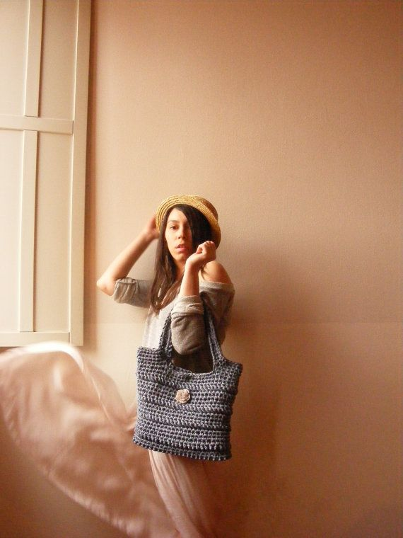 Leather Base Summer Crochet Hobo Handbag