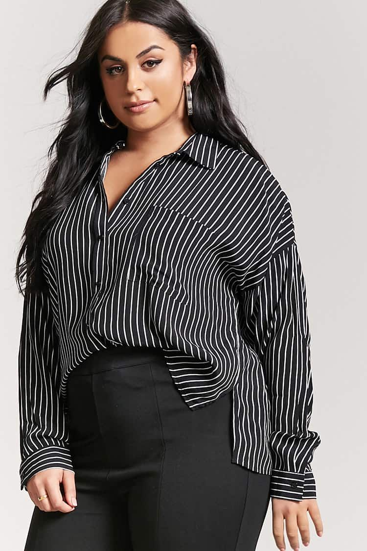 329a2ddfdcc Product Name Plus Size Pinstripe Shirt