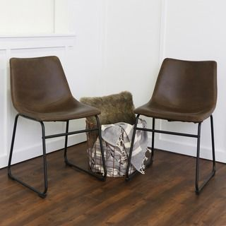Shop for Brown Faux Leather Dining Chairs (Set of 2). Get free shipping at…