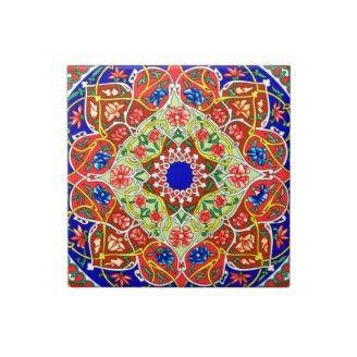 Vintage Decorative Floral Russian Pattern Red Blue Ceramic Tile
