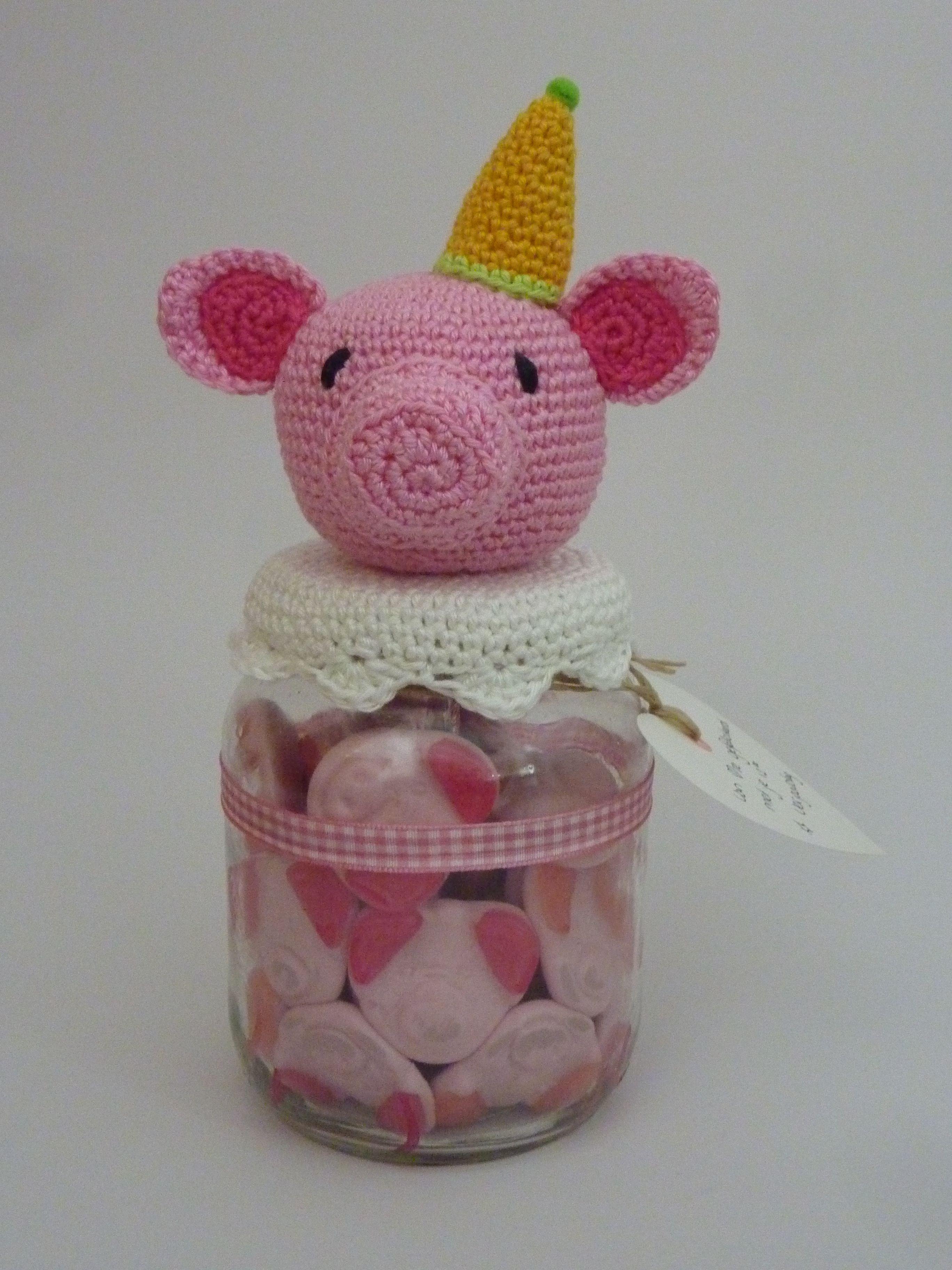 Schweinchen Deckel für Gläser häkeln | ☛ Copribarattoli ...