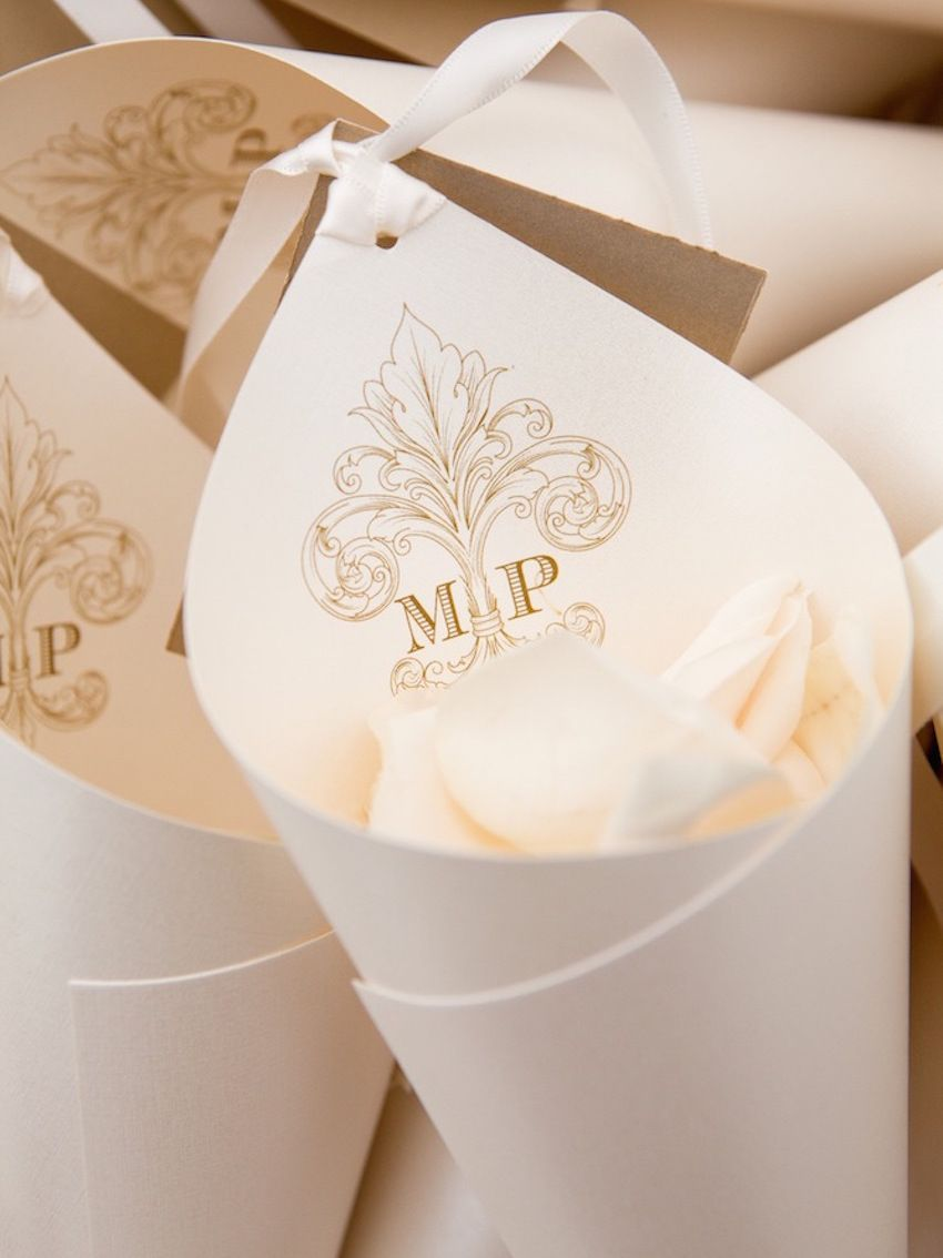 22 wedding ideas for incorporating a custom monogram flowers monogram paper cones for flower petals mightylinksfo
