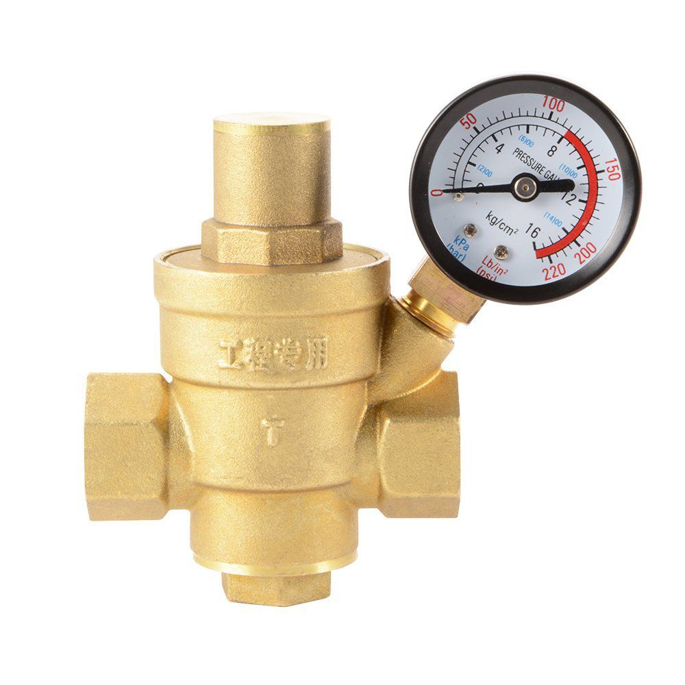 Water Pressure Regulator Brass Lead Free Adjustable 1 2 Dn15 Water Pressure Reducer Reducing Valve With Pressure Gauge Ad013