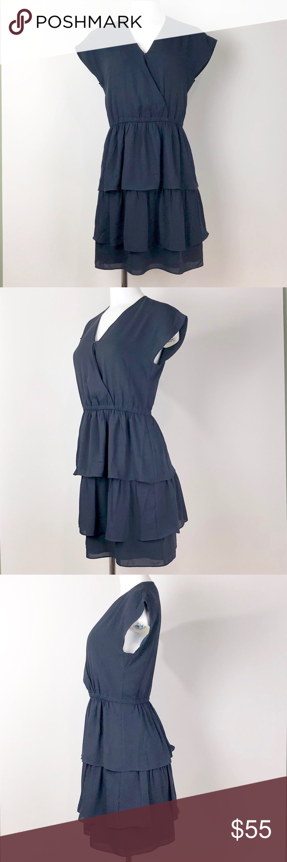 50d25806b58e J. CREW POINT SUR NAVY TIERED RUFFLE DRESS J.Crew Point Sur Tiered Ruffle