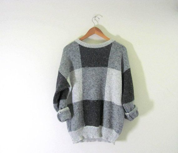 Vintage baggy sweater. gray sweater. by dirtybirdiesvintage, $28.00