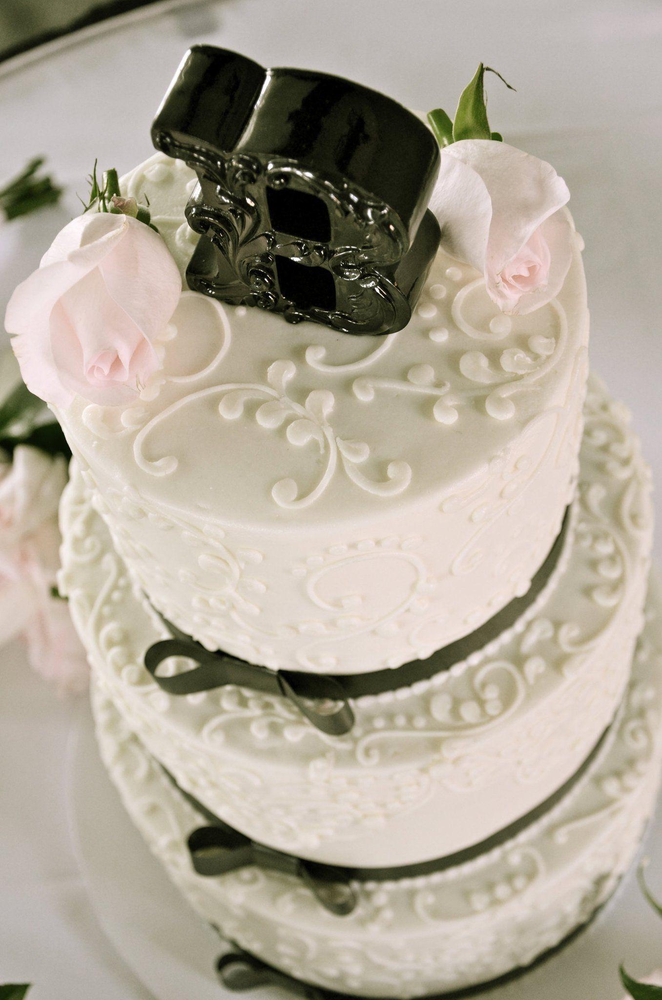 Classic cake black and white cake ribbon cake white