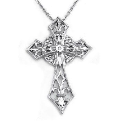 Amazoncom 14K White Gold Celtic Cross Diamond Pendant w 16 inches