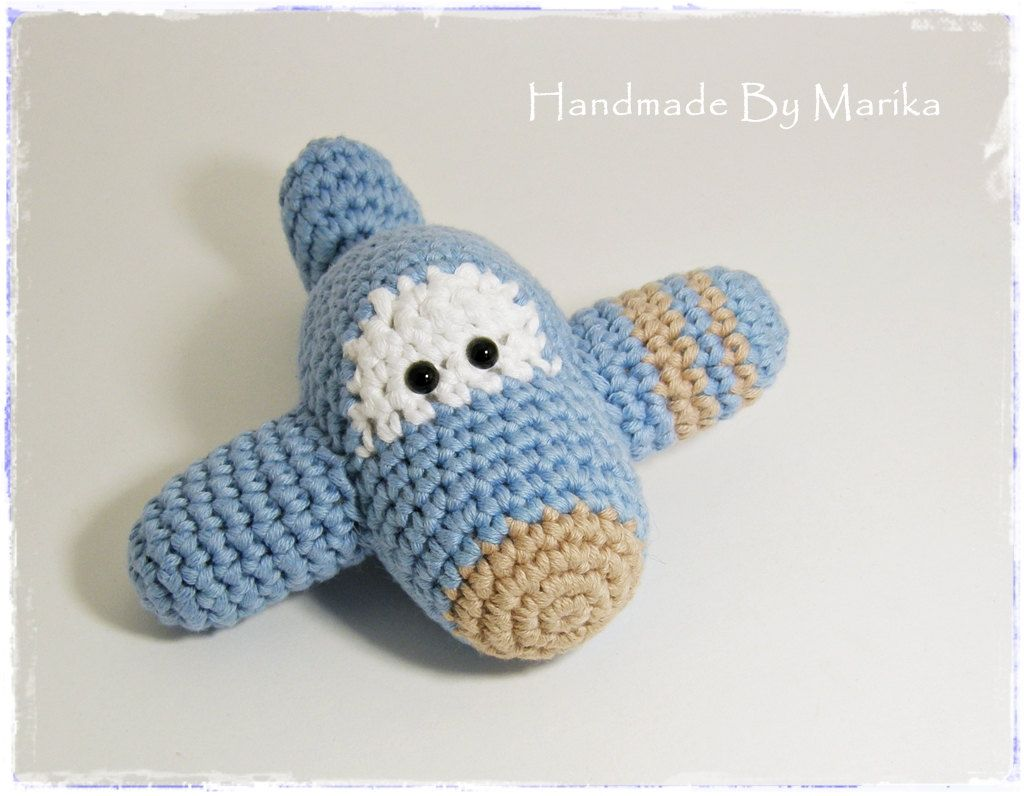 Amigurumi Toy Airplane Baby Rattle - organic cotton - light blue and beige. $23.00, via Etsy.