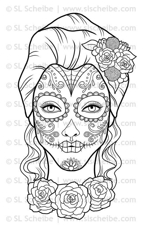 digital stamp day of the dead calavera girl by slslines on