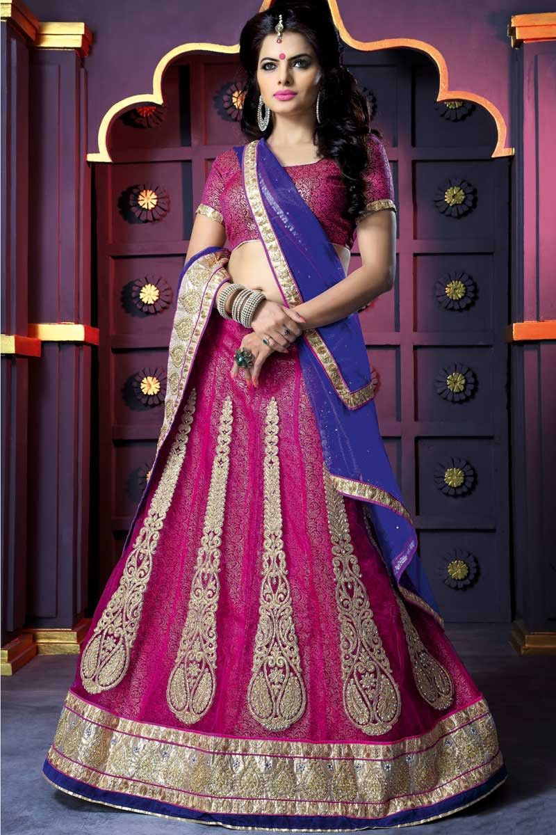 Deep Fuchsia Pink Net and Jacquard Embroidered Festival ...