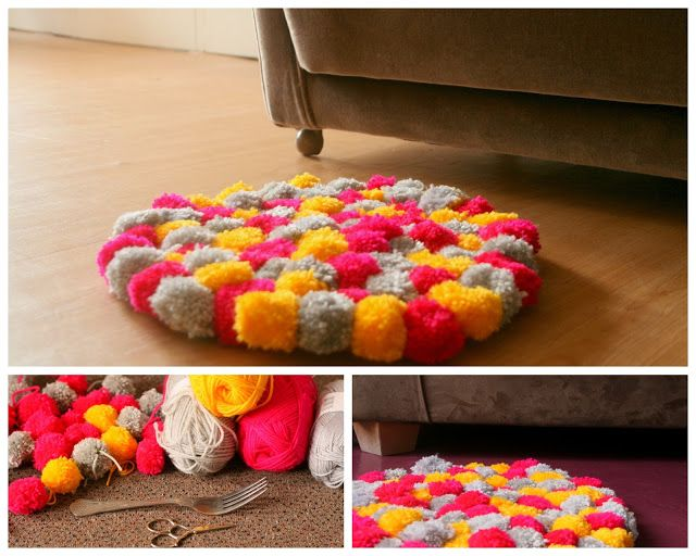 pom pom teppich carpet diy diy basteln diy carpet. Black Bedroom Furniture Sets. Home Design Ideas