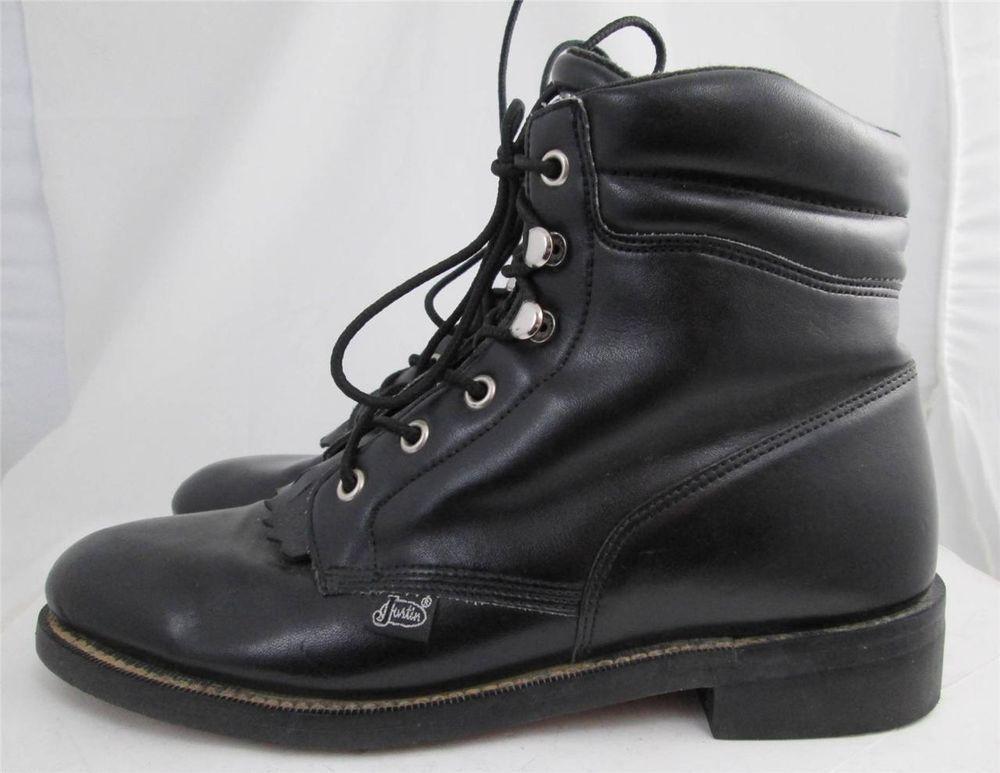 450b951d662cf Women's Justin Black Basics Lace Up Ankle Cowboy Boots Size 7.5 C ...