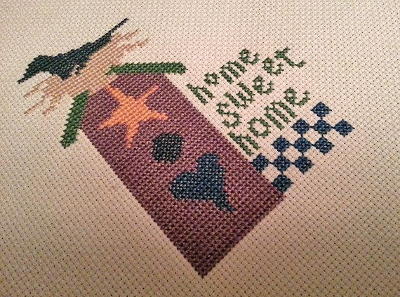 Summer Birdhouse CrossStitch Home Sweet Home by TabernashTreasures, $13.00