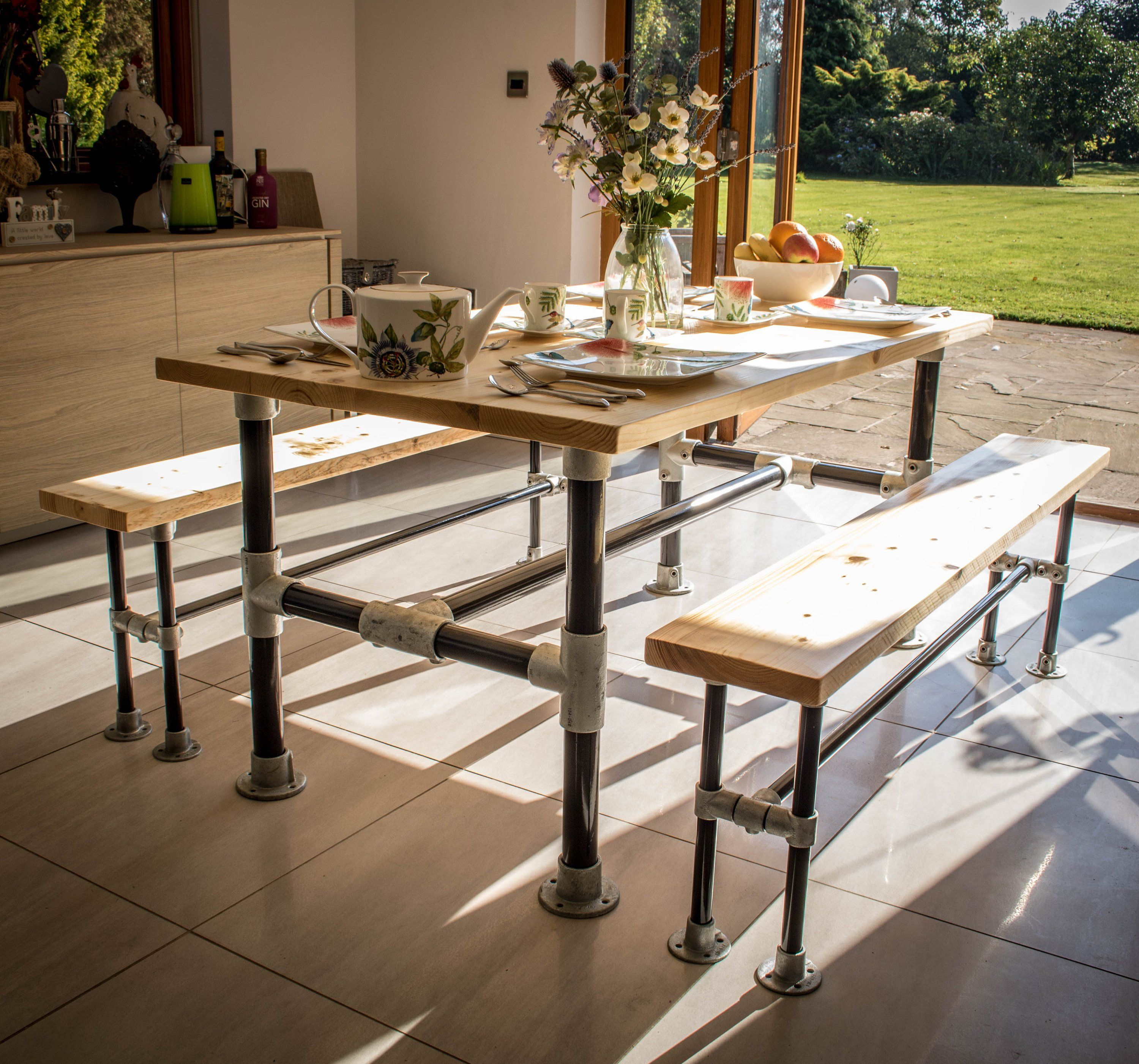 Handmade rustic dining table industrial style dining