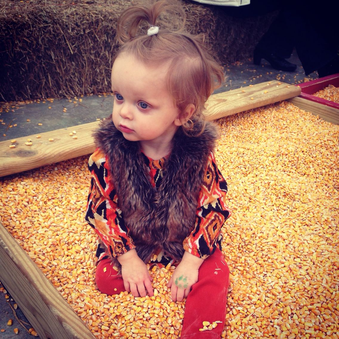 Corn is great for a fall sensory.  My daughter had a BLAST!