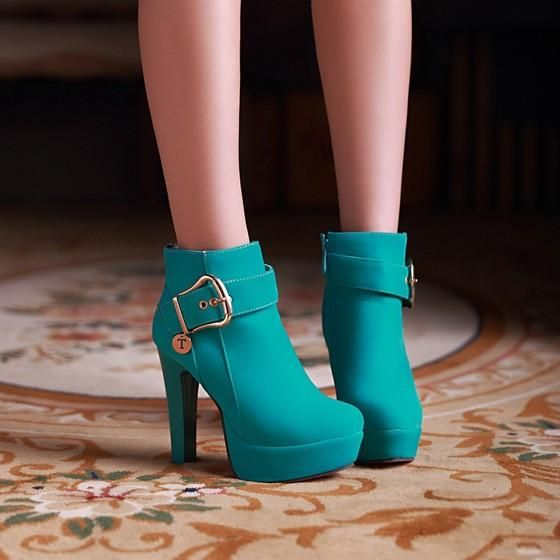 New Women Green Round Toe Chunky Buckled Casual Ankle Boots 1