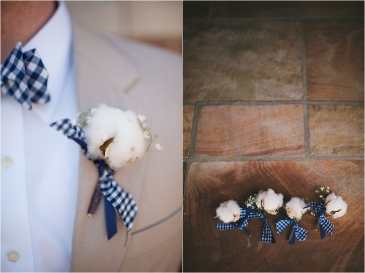 DIY boutonnieres, wedding, groom, cotton, gingham, bow tie, photography, southern, KLP Photography