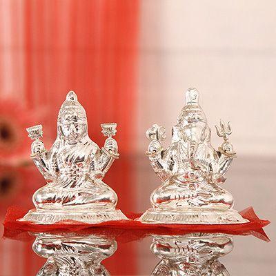 Laxmi Ganesh Idols For Diwali Buy Send Silver Lakshmi Ganesh Idols Murti To India Usa Igp Com Silver Pooja Items Goddess Decor Diwali Decorations