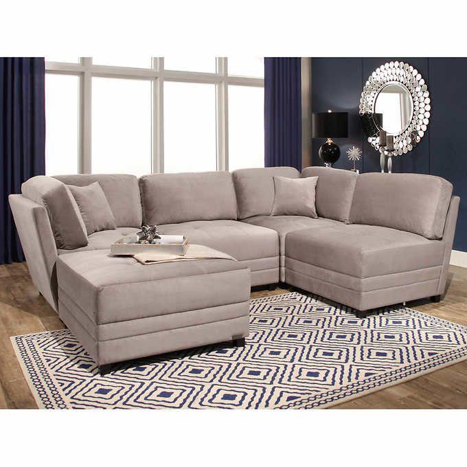 Leyla 5Piece Fabric Modular Sectional Living Room Set  Family Unique Sectional Living Room Sets Inspiration Design
