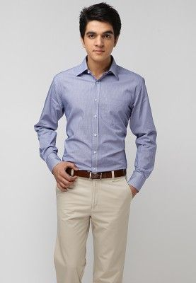 A blue coloured formal shirt for men from TNG. Made from 100 ...