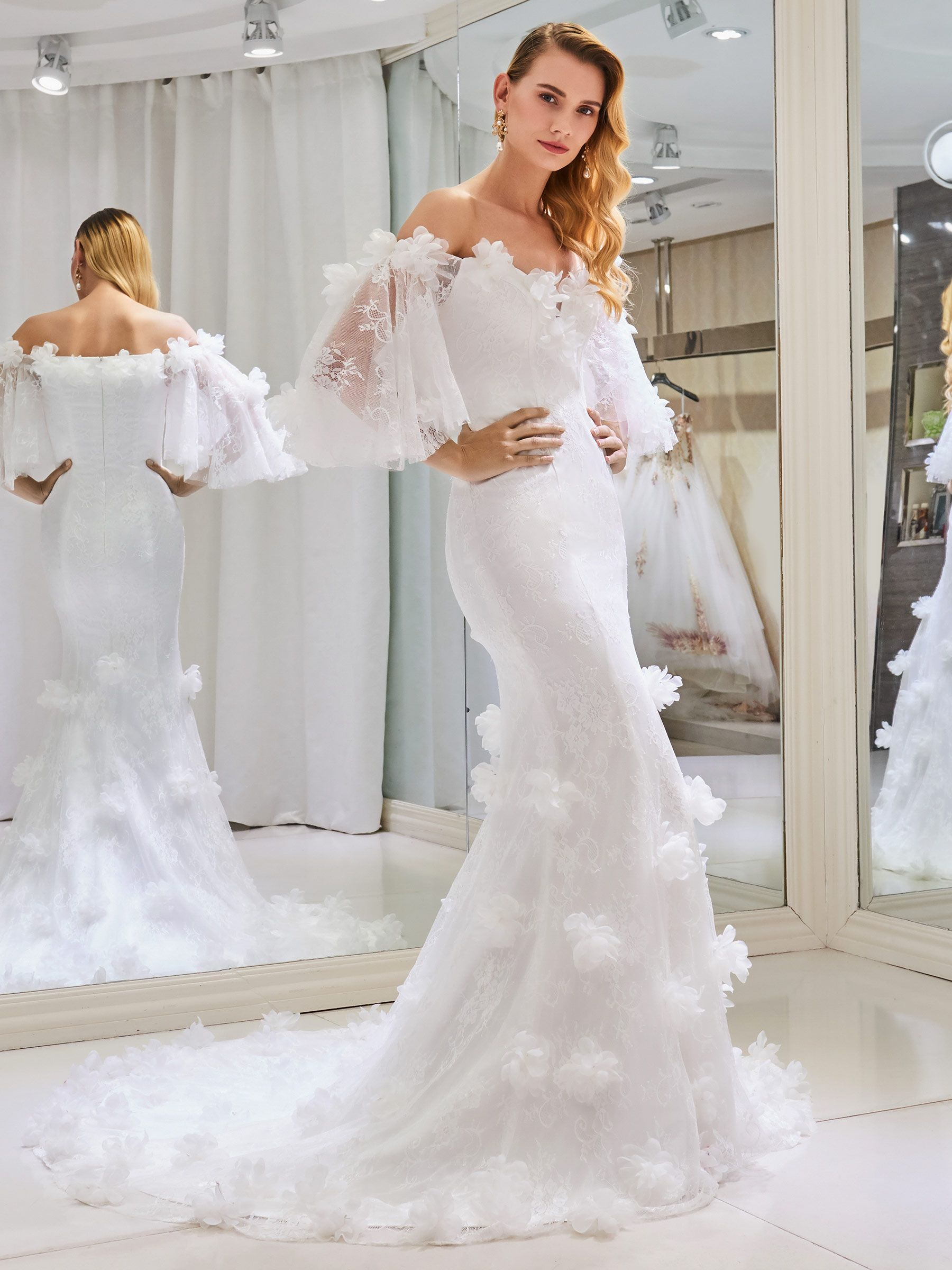 Off The Shoulder 3d Floral Lace Wedding Dress With Sleeve Getting
