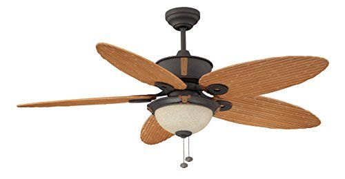 Litex E Eh52non5c1s Earhart Collection 52 Inch Indoor Outdoor Ceiling Fan With Five Bamboo Abs Blades And Single Light Kit With Scavo Glass Ceiling Fan Ceiling Fan With Light Outdoor Ceiling Fans