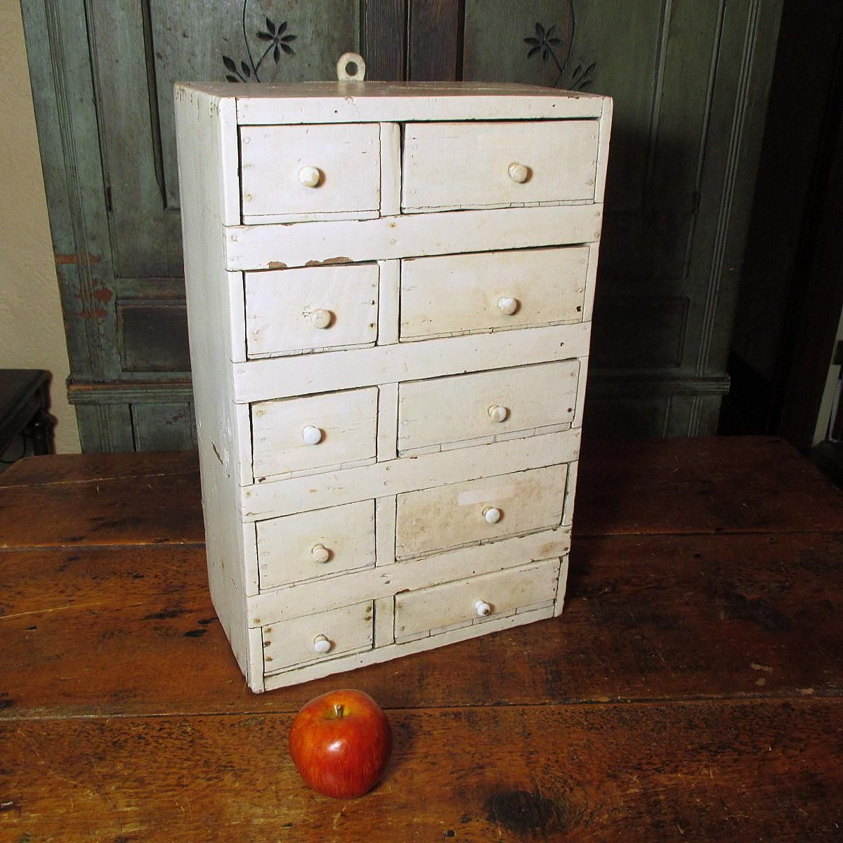 Grannyu0027s Large Old Hand Made 10 Drawer Apothecary Cabinet   Old White Paint