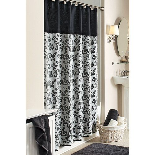 black and white damask scroll shower curtain, i think i will make