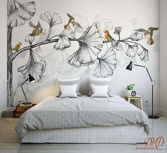Wall Mural, Nature, Large Corner Tree, Removable Wallpaper, Watercolor, Grey Tree with Gold birds, Kids Wall Sticker, Home Décor-126″x79″