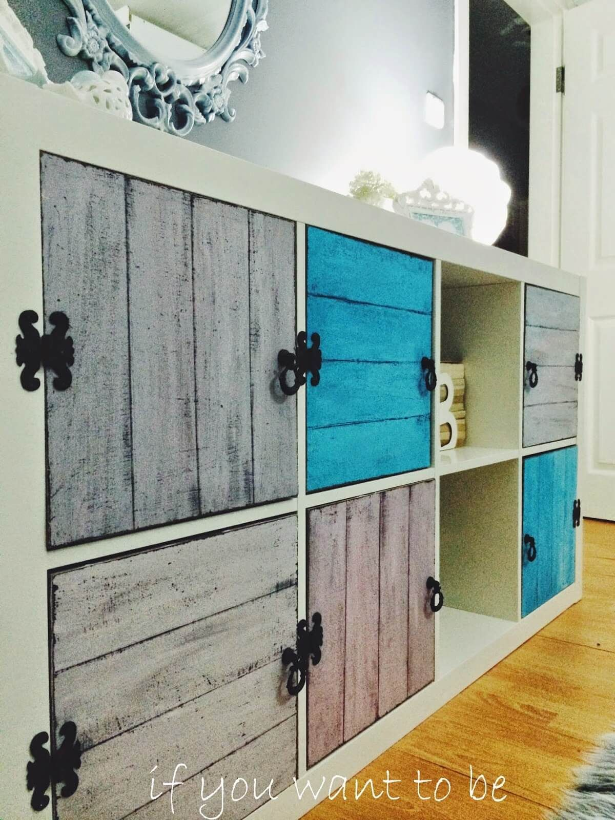 Ikea Möbel Bekleben Rustic Wall Cabinet With Fancy Black Hinges | Diy Projects