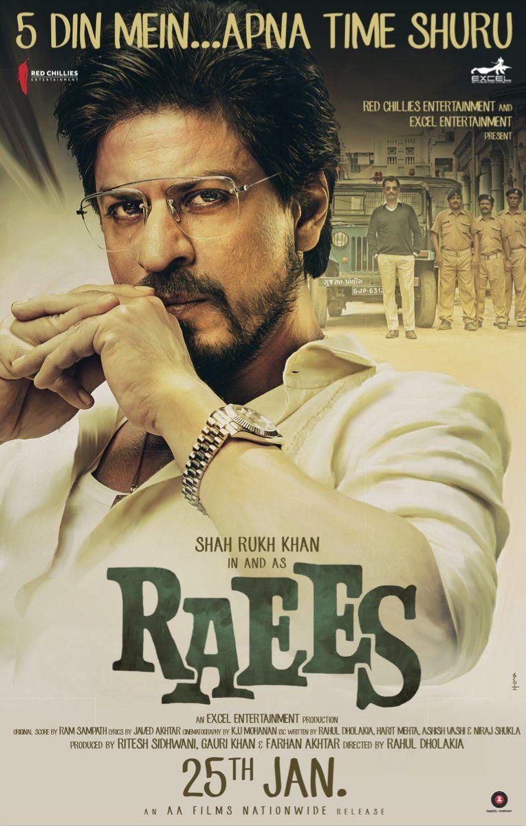 Raees 2017 Starring Shah Rukh Khan Bollywood Film Poster