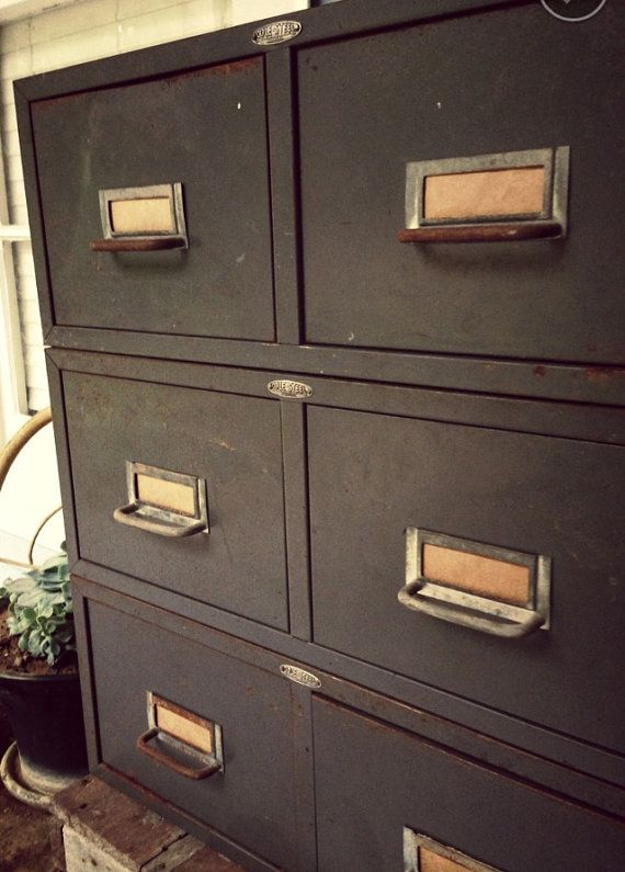 Metal File Cabinet Drawers, Vintage Industrial Two Drawer, Mail File Box,  Mini Drawers