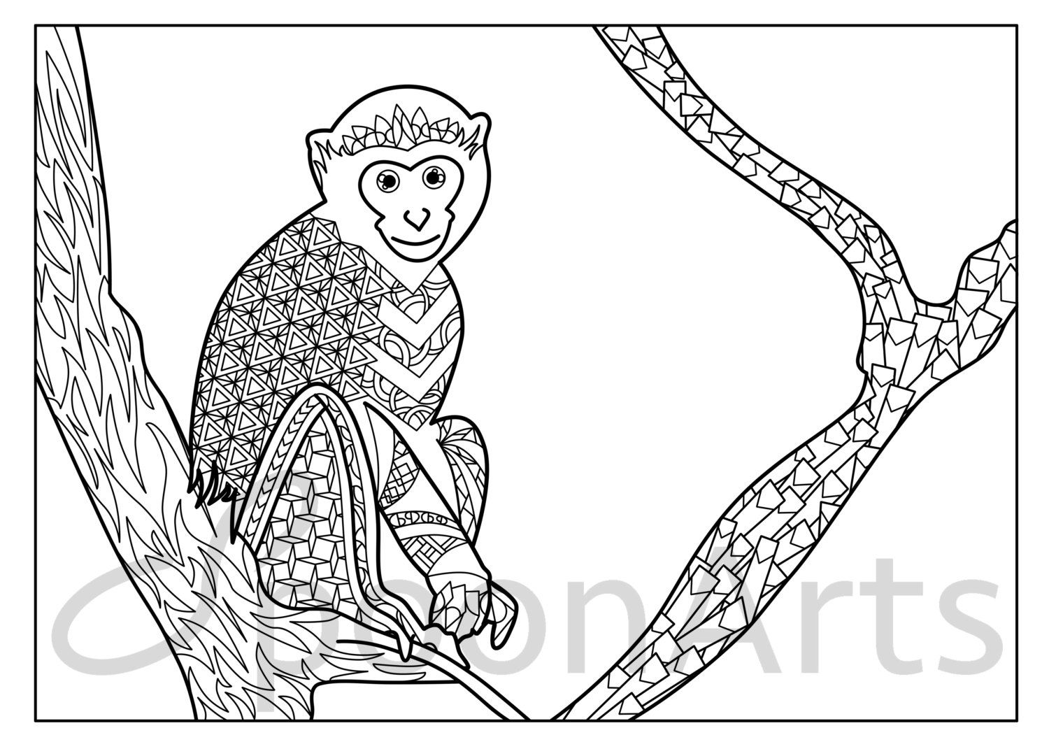 Vervet Monkey Instant Printable Coloring Page Adult Coloring