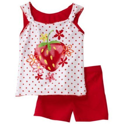Young Hearts Little Girls 2 Piece Strawberry Printed Shorts Set