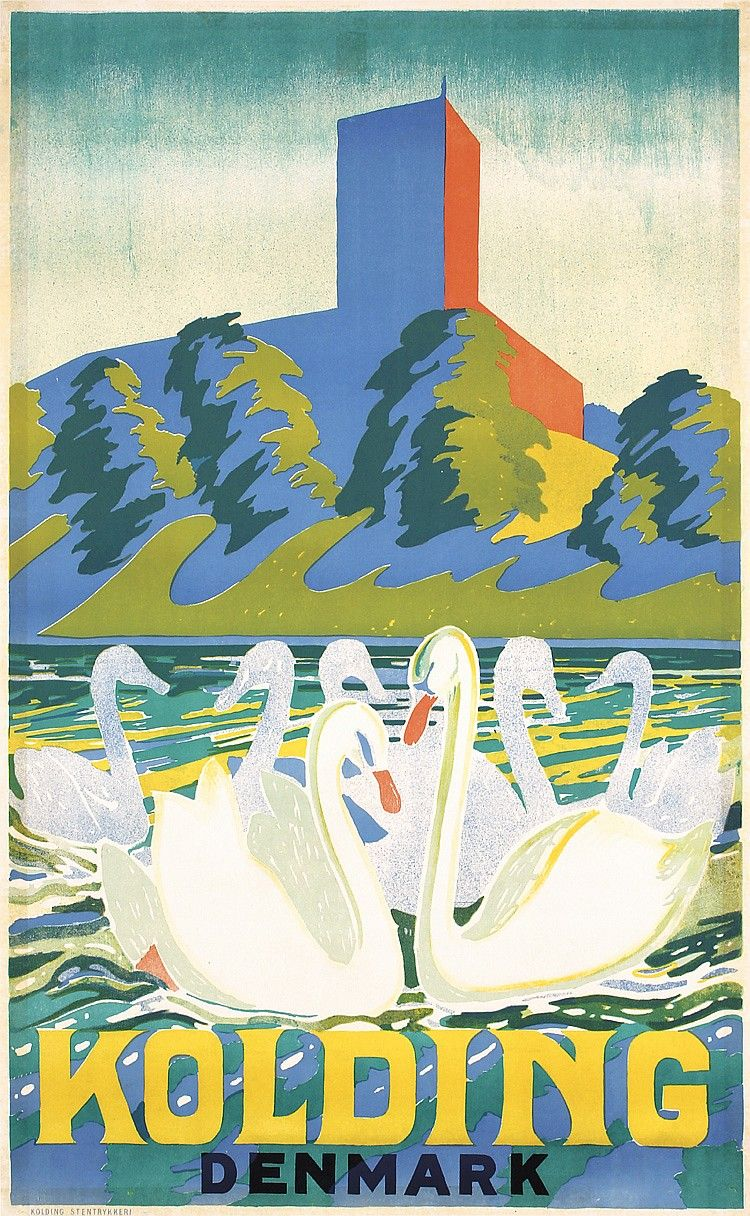 Vintage Travel Poster Kolding Denmark 1935 Illustration Plakater Danmark